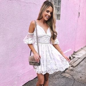 Mesh Embroidered Dress in White